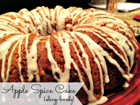 A nut-free recipe for Apple Spice Cake with options for egg-free/dairy-free. Perfect for Fall!